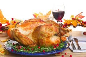 Turkey and glass of red wine