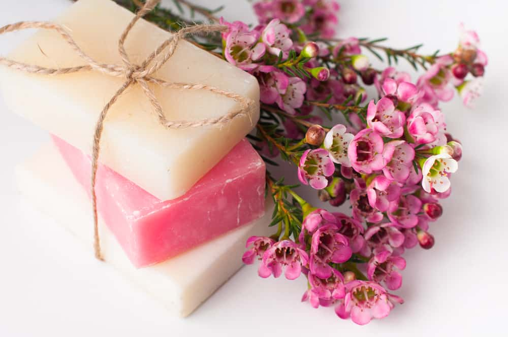 handmade soap and pink flowers