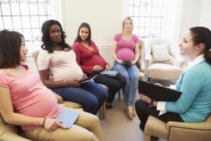 group of pregnant women in a breastfeeding class